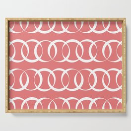Living coral and white elegant intersecting circles pattern Serving Tray