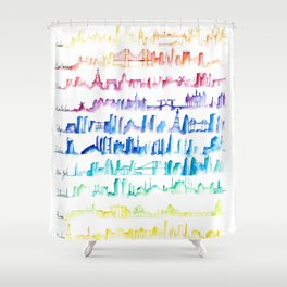Skylines Across the World Shower Curtain