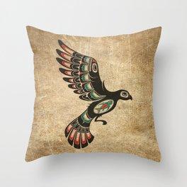 Red and Green Haida Spirit Flying Bird Throw Pillow