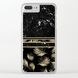 Black Marble Meets Tropical Palms #1 #decor #art #society6 Clear iPhone Case