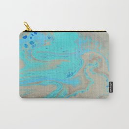Fluid Art Acrylic Painting, Pour 28, Blue, Turquoise, Tan & Brown Blended Color Carry-All Pouch