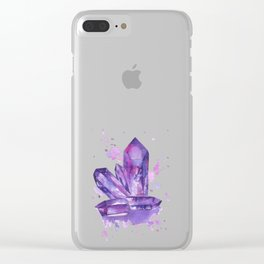Purple Crystals Clear iPhone Case
