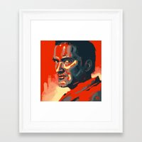 tarantino Framed Art Prints featuring Quentin Tarantino by Joel Amat Güell