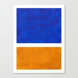 Phthalo Blue Yellow Ochre Mid Century Modern Abstract Minimalist Rothko Color Field Squares Canvas Print