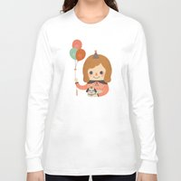 ballon Long Sleeve T-shirts featuring Hold The Happy Ballon by Minifanfan