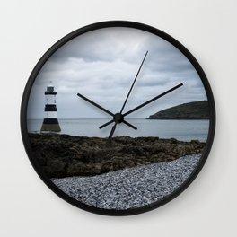 Trwyn Du Lighthouse And Puffin Island Wall Clock