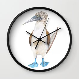 Blue Footed Booby Bird in Watercolor Wall Clock