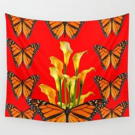 MONARCH BUTTERFLIES & GOLDEN CALLA LILIES RED ART Wall Tapestry