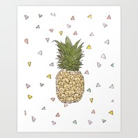 pinapple Art Prints featuring Pinapple by surfed