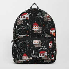 Christmas Village Church House Vector Pattern Backpack