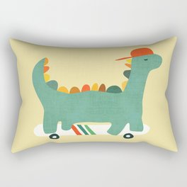 Dinosaur on retro skateboard Rectangular Pillow