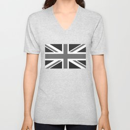 UK Flag, High Quality in grayscale Unisex V-Neck