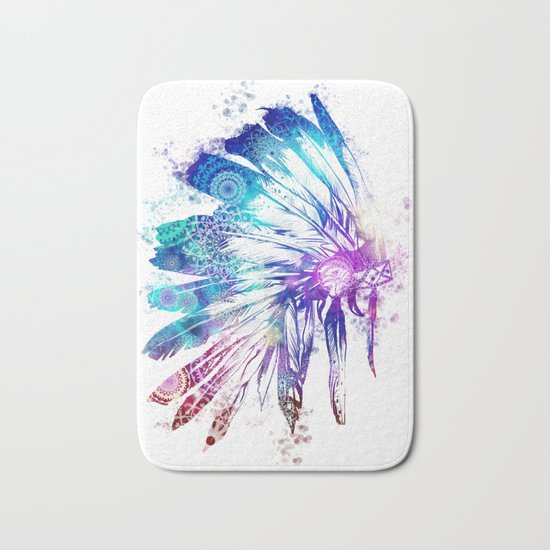 mandala colorful headdress Bath Mat