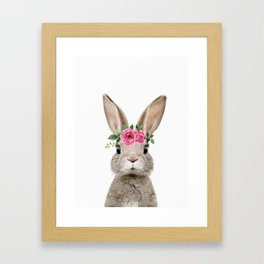Baby Rabbit with Flower Crown Gerahmter Kunstdruck