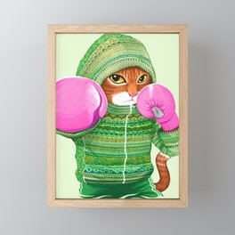 BOXING CAT 4 Framed Mini Art Print
