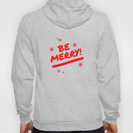 Bright Red Be Merry Christmas Snowflakes Hoody