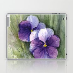 Purple Pansies Watercolor Flowers Painting Violet Floral Art Laptop & iPad Skin