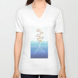 Flying whale Unisex V-Neck