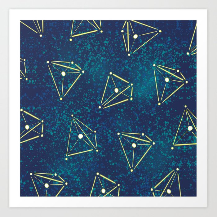 Tetrahedral Molecular Geometry Constellation Art Art Print