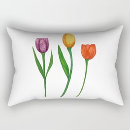 Three Watercolor Tulips Rectangular Pillow