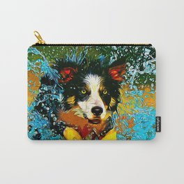 border collie jumping in water vector art Carry-All Pouch