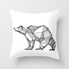 geometric bear Throw Pillow
