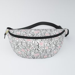 Elios Shirt Faces with Valentine Hearts in Black Outlines with Blush Pink Hearts Fanny Pack