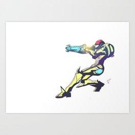 Samus Aran Color V2 Art Print