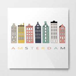 Amsterdam Colorful Canal Houses. Architecture Holland  Print  Skyline Travel Nordic Home Wall Decor Metal Print