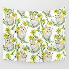 Spring yellow green watercolor daffodil rabbit pattern Wall Tapestry