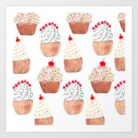 cupcakes Art Prints featuring Cupcakes by Bouffants and Broken Hearts