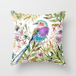 KEENYA THE LILAC-BREASTED ROLLER Throw Pillow