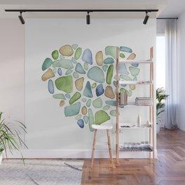 Heart of the Sea, sea glass watercolor Wall Mural