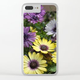 Yellow and Purple African Daisies Clear iPhone Case