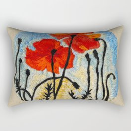 Embroidered Poppies Rectangular Pillow