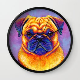 Colorful Rainbow Pug Portrait Wall Clock