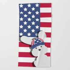 INDEPENDENCE DAY BUNNY Beach Towel