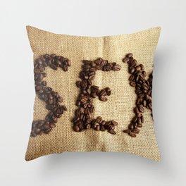 SEX - Coffee beans Throw Pillow
