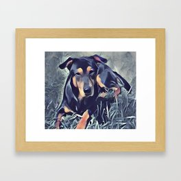 Black and Tan Coonhound Puppy Framed Art Print