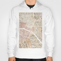 paris map Hoodies featuring PARIS by Mapsland