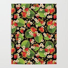 Strawberries Botanical Poster