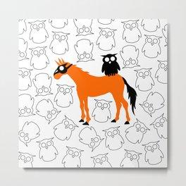 Owl Unicorn Metal Print