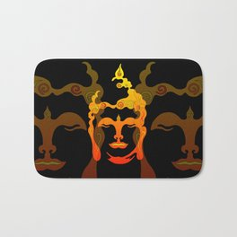 Illustration Buddha Head orange black design Bath Mat