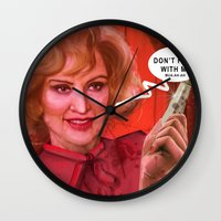 jessica lange Wall Clocks featuring Don't fuck with the Lange by Sabuchan