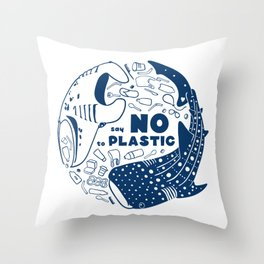 Say NO to Plastic Throw Pillow