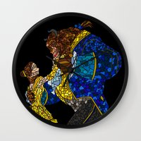 beauty and the beast Wall Clocks featuring Beauty and the Beast by JackEmmett
