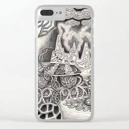 BioTechnological DNA Tree and Abstract Cityscape Clear iPhone Case