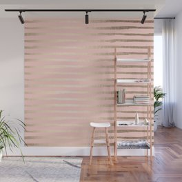Abstract Stripes Gold Coral Light Pink Wall Mural