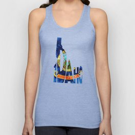 Idaho Typographic Flag Map Art Unisex Tank Top