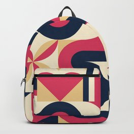Mid Century Design Red and Navy  Backpack